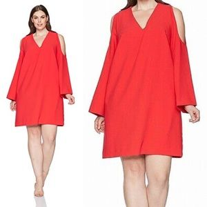Rachel Roy red cold shoulder shift dress 1X